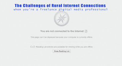 "A title image for a blog post about the challenges and unreliability of rural internet connections through Xplornet shown with a typical browser screen saying ""you are not connected to the internet"""