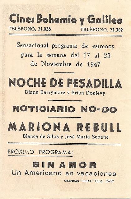 Mariona Rebull - Folleto de mano - Cine español - Sara Montiel