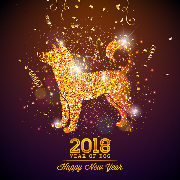 Happy new year 2018 year of dog free vectors