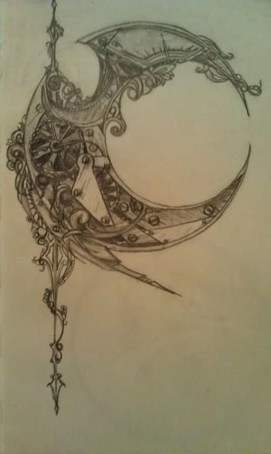 Amazing Crescent Steampunk Tattoos
