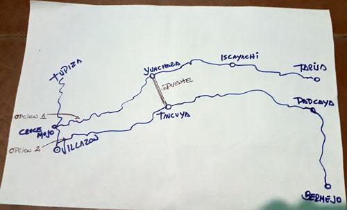 ¿Por donde usted quiere que se construya la carretera asfaltada a Tarija?