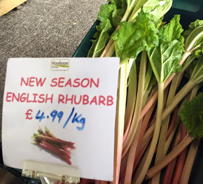 New season rhubarb for sale from Moorhouse Farm Shop Stannington, near Morpeth, Northumberland