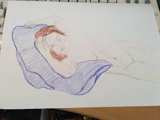 A pencil and crayon drawing of Kate Winslet being drawn like a French Girl in Titanic