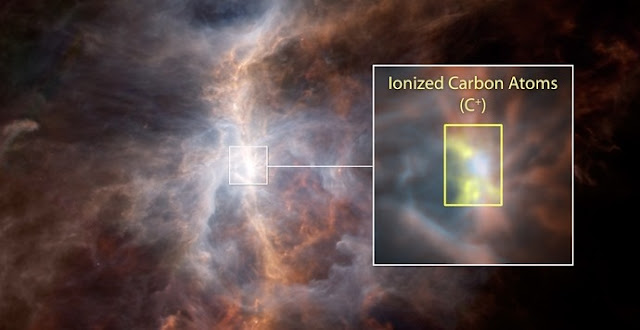 The dusty side of the Sword of Orion is illuminated in this striking infrared image from ESA's Hershel Space Observatory. Within the inset image, the emission from ionized carbon atoms (C+) is overlaid in yellow. Credits: ESA/NASA/JPL-Caltech
