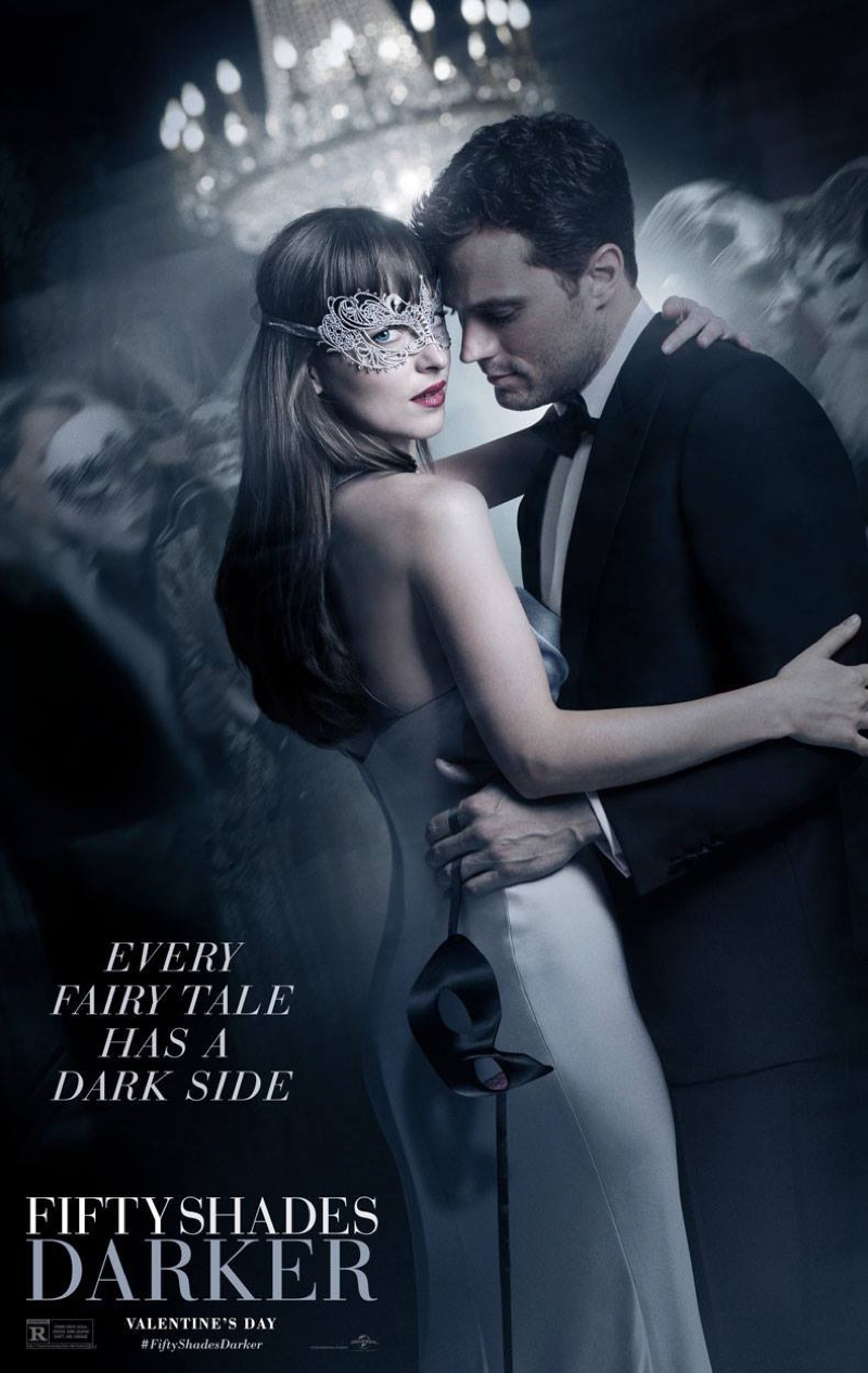 Dakota Johnson and Jamie Dornan on Fifty Shades Darker movie poster