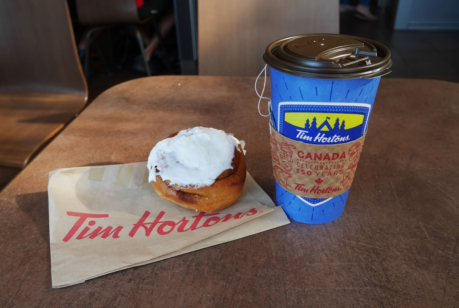 Breakfast at Tim Hortons in Jasper town