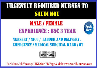 Urgently Required Female and Male Nurses to Saudi MOU