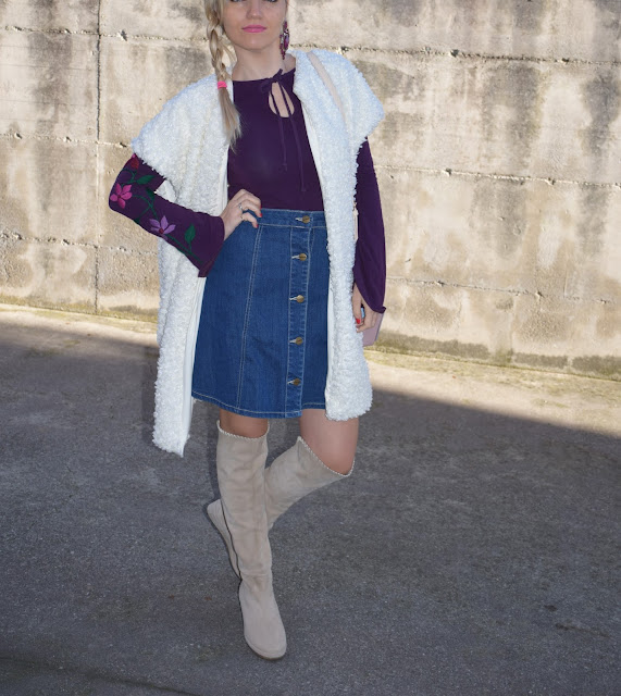 denim skirt a line denim skirt how to wear denim skirt how to combine denim skirt  outfit christmas outfit what to wear on christmas holidays fashion bloggers italy web influencer mariafelicia magno fashion blogger color block by felym winter outfit