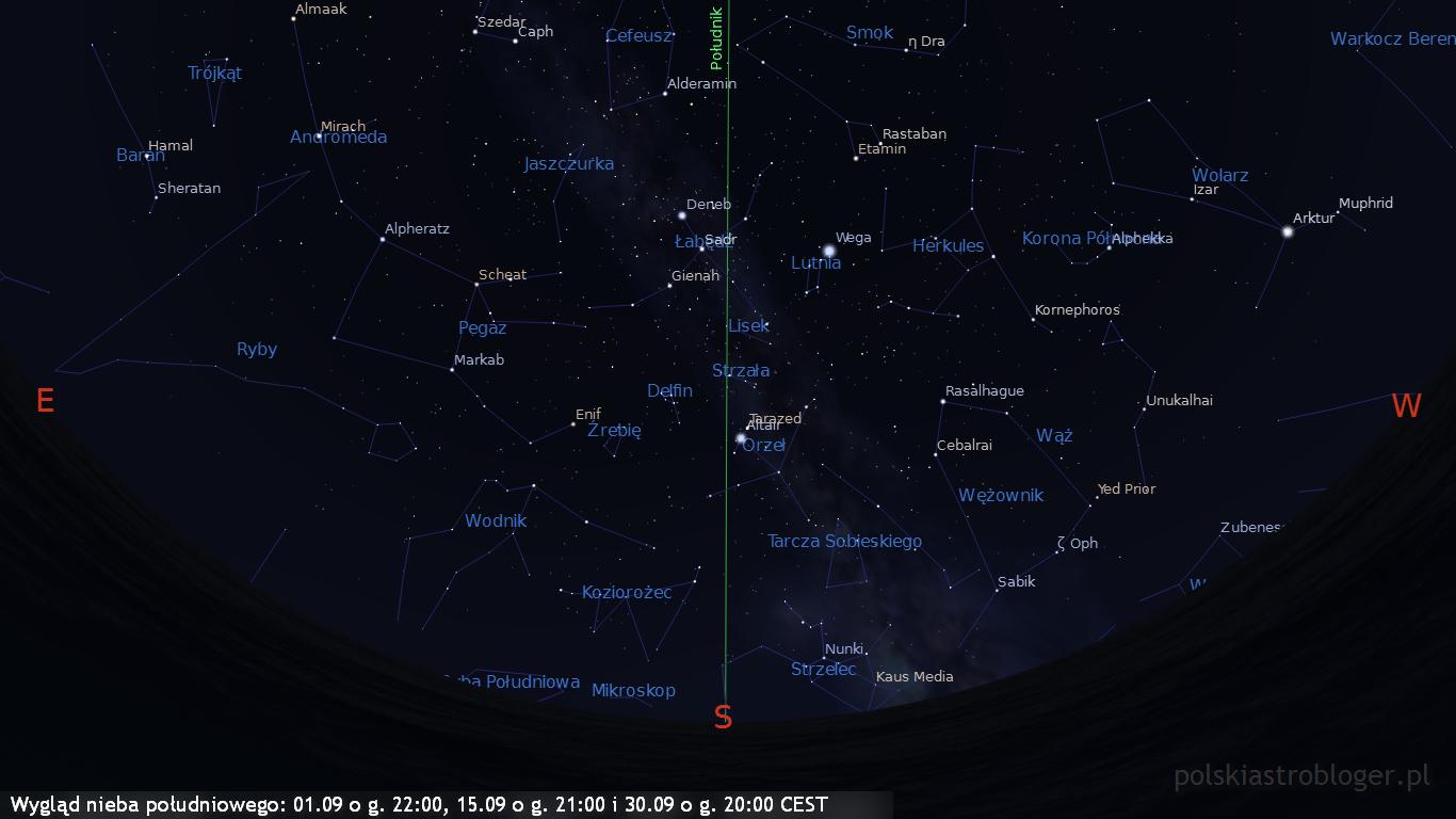 Wygląd nieba południowego 01.09 o g. 22:00, 15.09 o g. 21:00 i 30.09 o g. 20:00 CEST