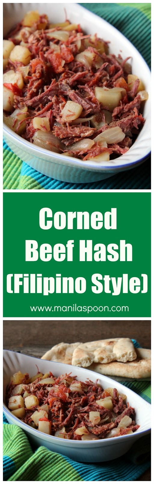 Easy 30 minute recipe for left-over corned beef. Great for breakfast, lunch or dinner and certainly have it with rice or bread, if you like. | manilaspoon.com