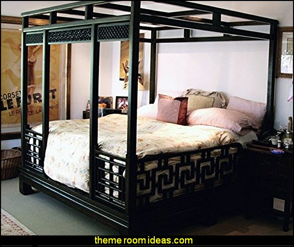 Chinese Canopy  bed oriental furniture decorating asian themed