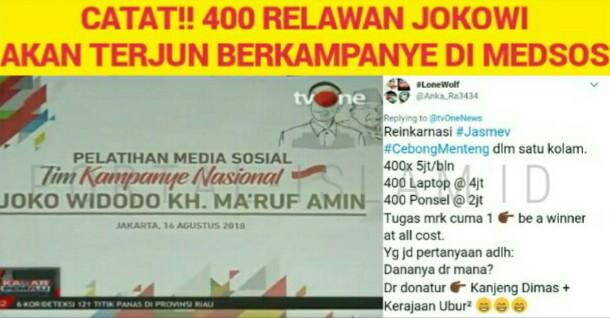 Jokowi Siapkan 400 Relawan untuk Kampanye di Medsos, Warganet: Reinkarnasi Jasmev, Dananya dari Kerajaan Ubur-Ubur