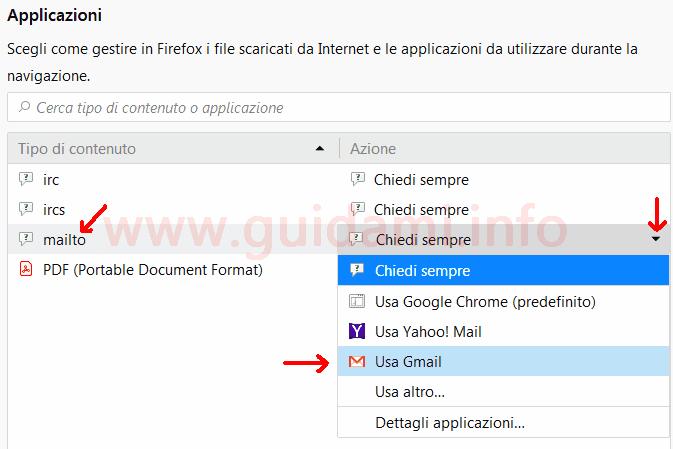 Firefox impostazioni Applicazioni contenuto mailto