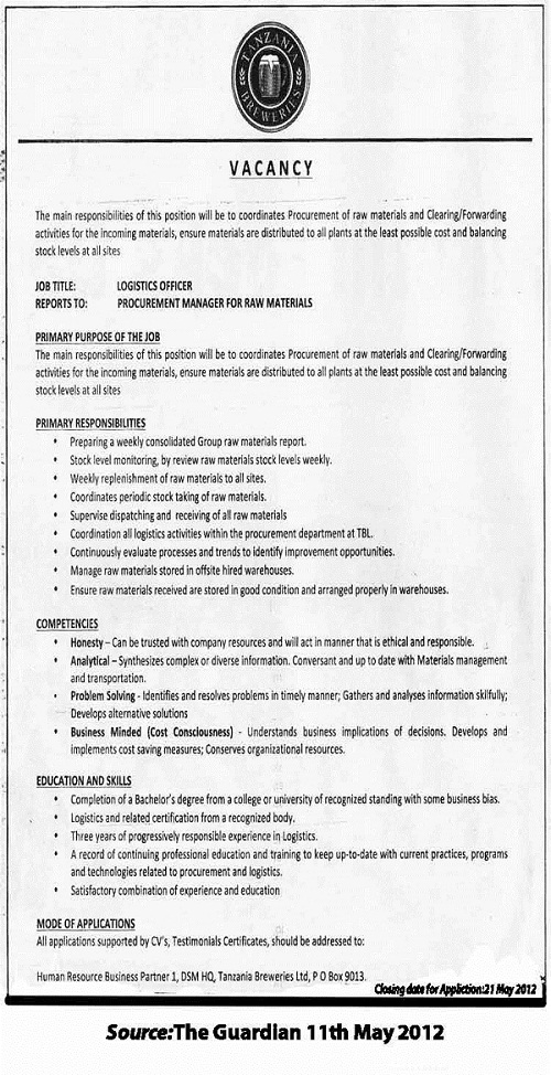 Logistics Officer - Tanzania Breweries Limited - logistics officer job description