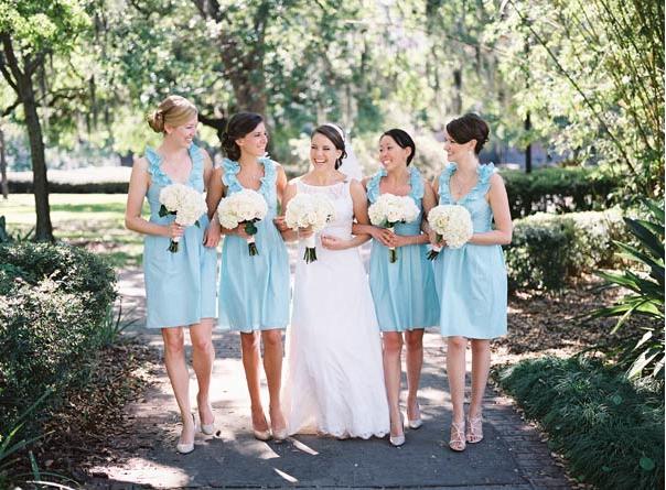 Independent Designer: Real Wedding: Aqua Bridesmaid Dresses