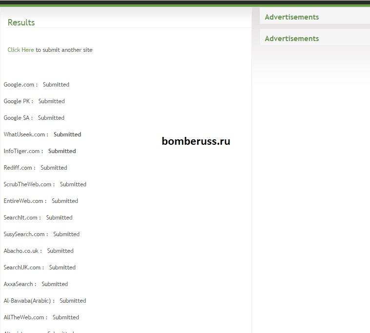 Результат добавления сайта в поисковые системы и каталоги