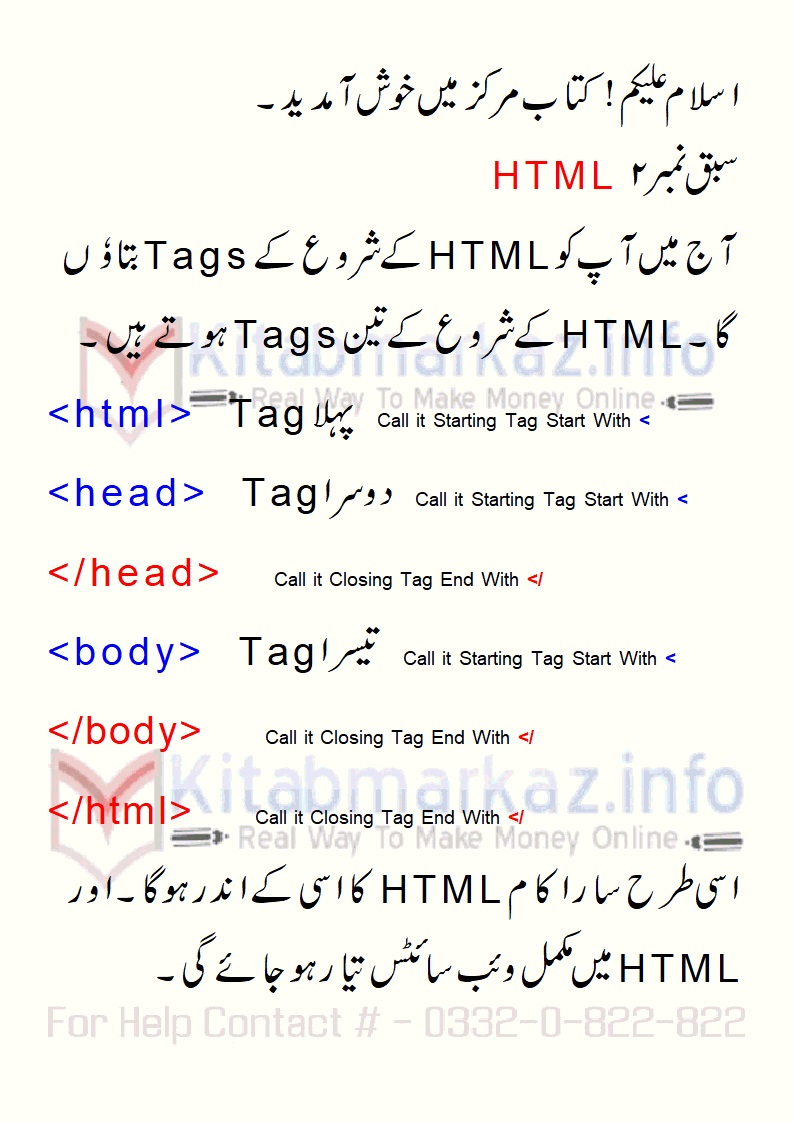 HTML Starting Tag and Usage