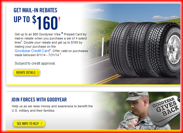 goodyear rebates july 2014