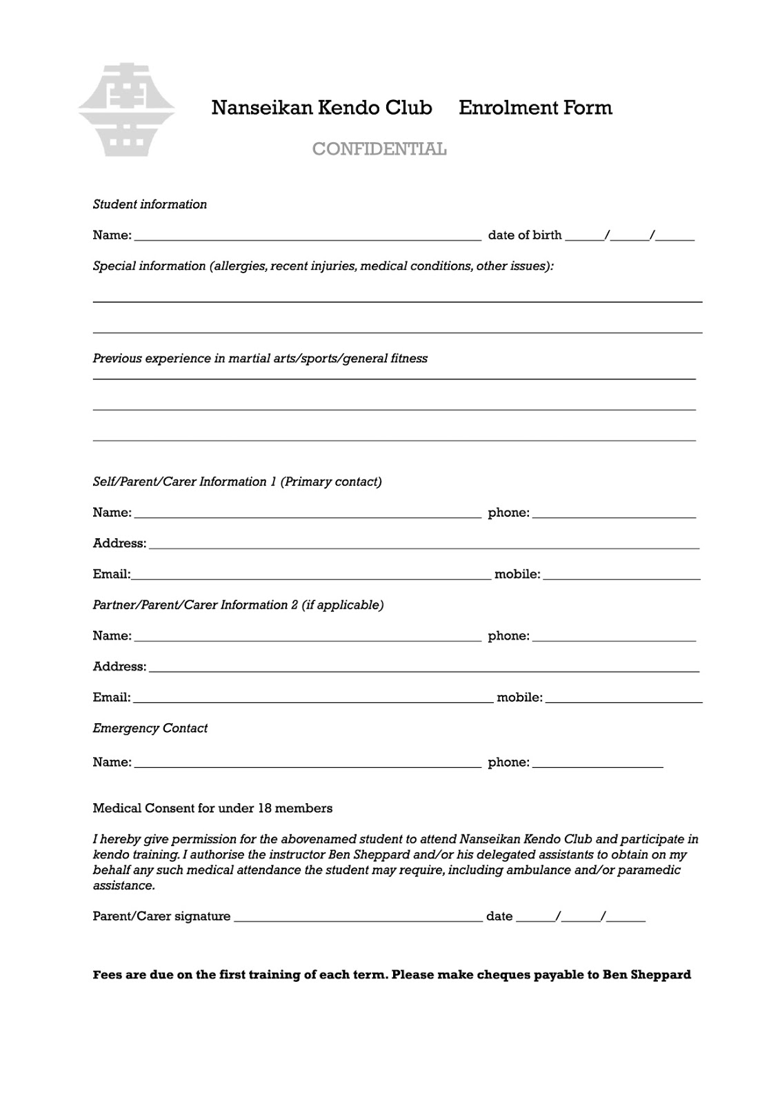 Course enrolment form template choice image template for Course enrolment form template