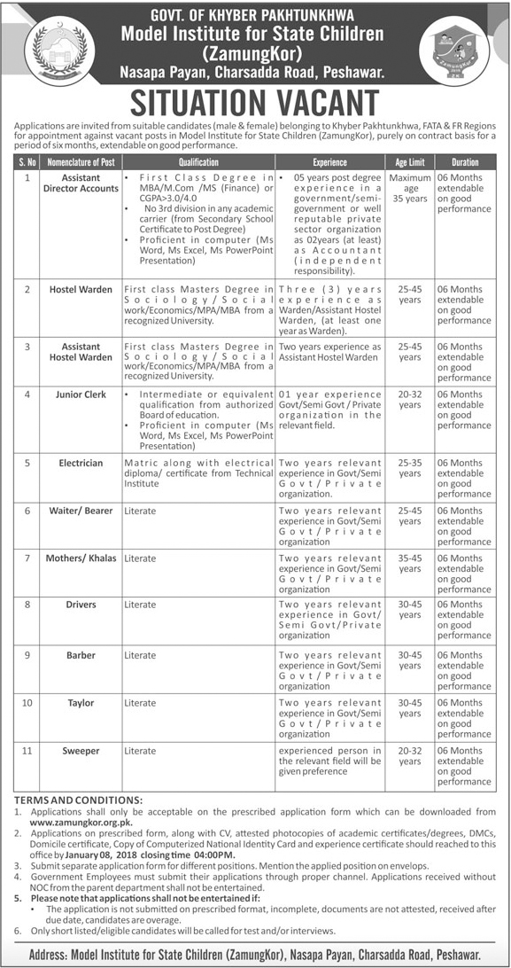 Jobs in Model Institute For State Children Peshawar Dec 2017