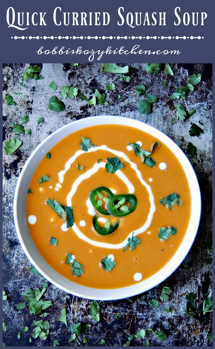 Quick Curried Squash Soup - The earthiness of butternut squash, paired with spicy curry paste, makes this soup the perfect meal for a cool fall or winter night #soup #curry #squash #butternut #easy #recipe | bobbiskozykitchen.com