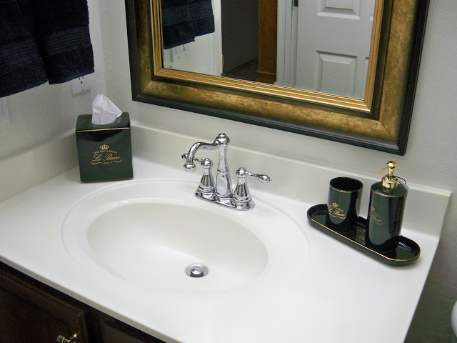 A Stroll Thru Life: Hall Bathroom Makeover Reveal on gold hair accessories, gold home accessories, gold bathroom fixtures, gold wedding accessories, gold toilets, gold bathroom design, gold bathroom art, gold painted bathrooms, gold bathroom faucets,