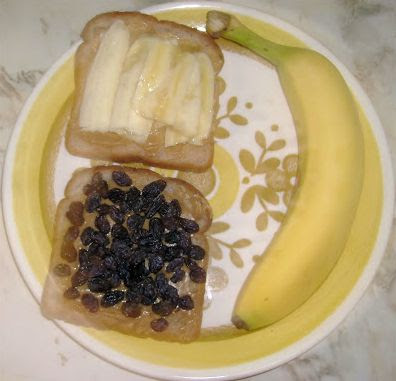 Single Serving Peanut Butter Banana Raisin Sandwich