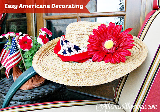Patriotic style, straw hat, red, white bandanna, show your patriotism
