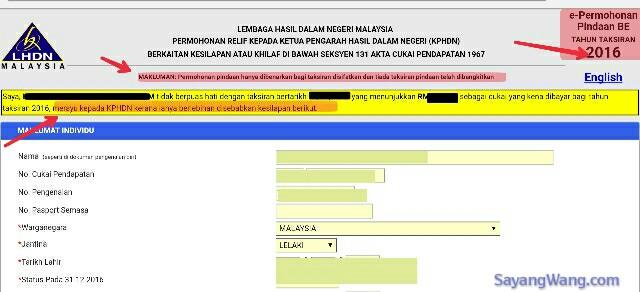 Sayangwang Pindaan Efiling Lhdn Borang Cukai Be B