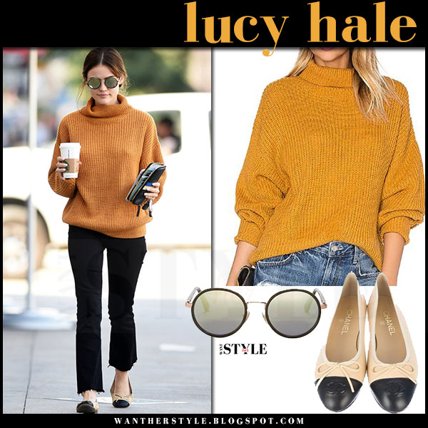 Lucy Hale in orange knit turtleneck sweater lovers friends alexa, black jeans and ballet flats chanel what she wore