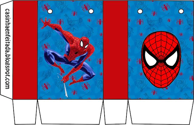 Caja para Imprimir Gratis de Spiderman.