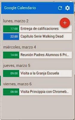 Extensión Chrome Google Calendar