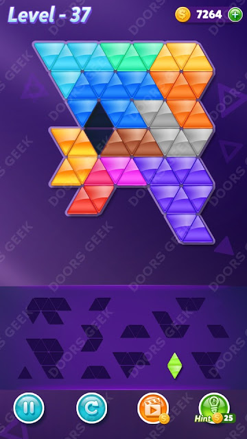 Block! Triangle Puzzle Champion Level 37 Solution, Cheats, Walkthrough for Android, iPhone, iPad and iPod
