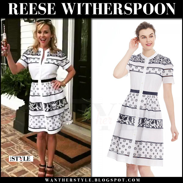 Reese Witherspoon in white and black printed dress draper james what she wore june 21 2017
