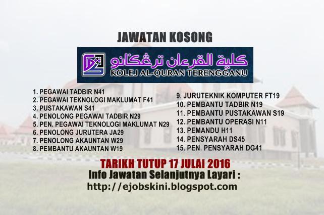 Jawatan Kosong Kolej Al-Quran Terengganu