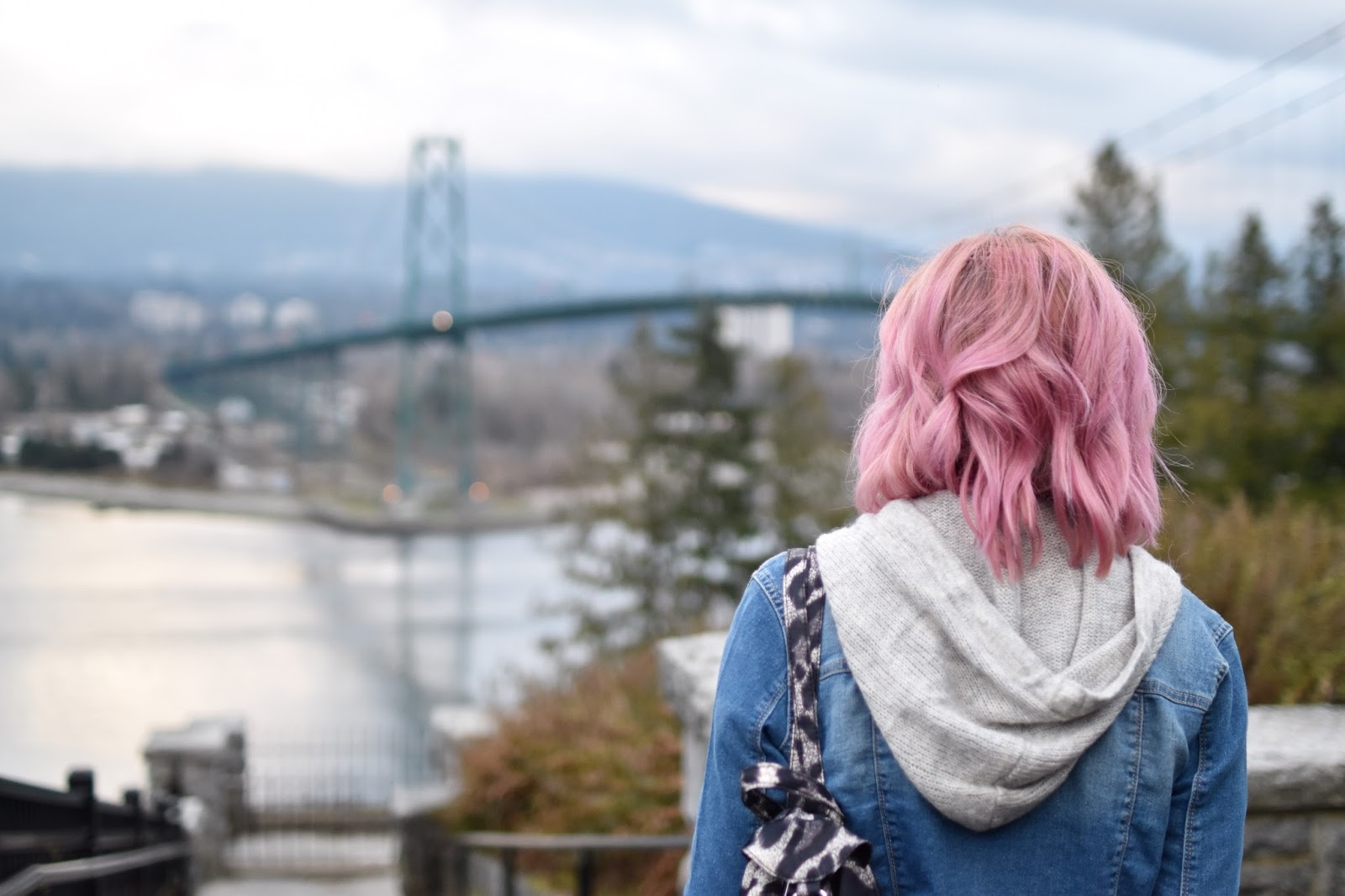 Monika Faulkner outfit inspiration - hoodie sweater, denim jacket, leopard backpack, pink hair