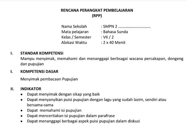 Download Silabus RPP Prota Promes Bahasa Sunda Kelas 7 Kurikulum 2013