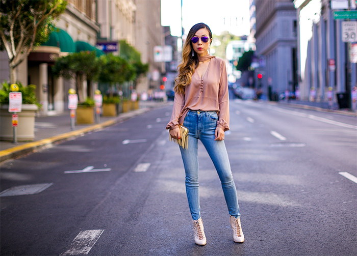 Academe the 70s blouse,  inge christopher cameron fringe clutch, baublebar tassel earrings, 7fam skinny jeans, lace up ankle booties, ray ban sunglasses, 70s inspired outfit, fall outfit ideas, san francisco fashion blog, san francisco street style