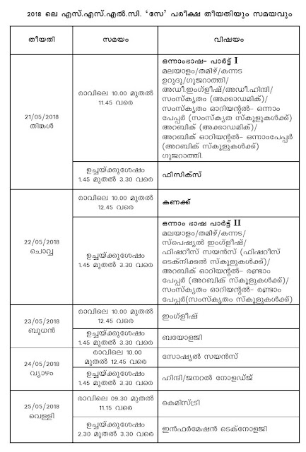 Kerala SSLC SAY Exam Time Table 2018