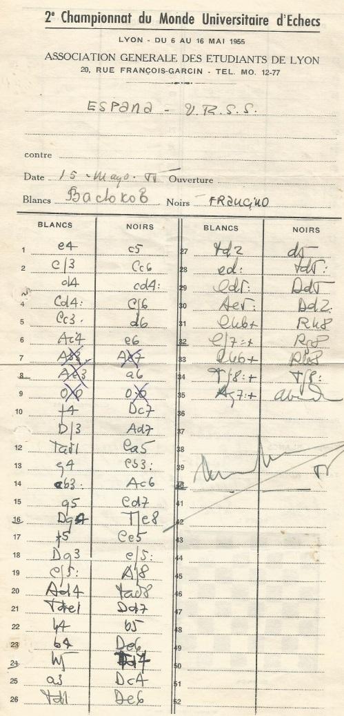 Planilla de la partida Evgeni Vasiukov-Lucien Francino en el II Campeonato Mundial Universitario de Ajedrez Lyon 1955