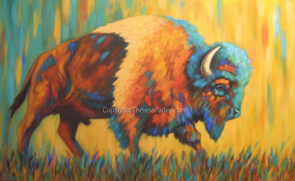 Southwest Art Bison Painting In Bright Colors By Theresa Paden