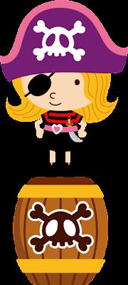 niña pirata con barril para imprimir