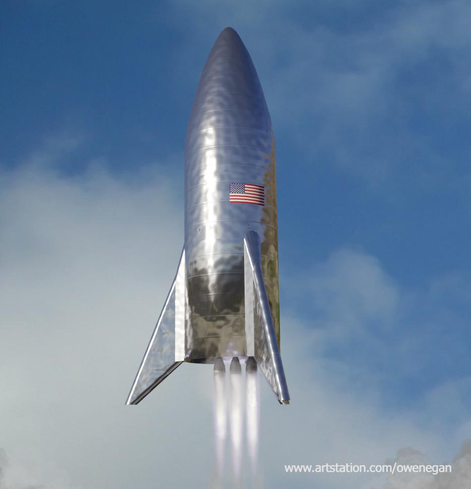 SpaceX Starhopper launch by Owen Egan   human Mars