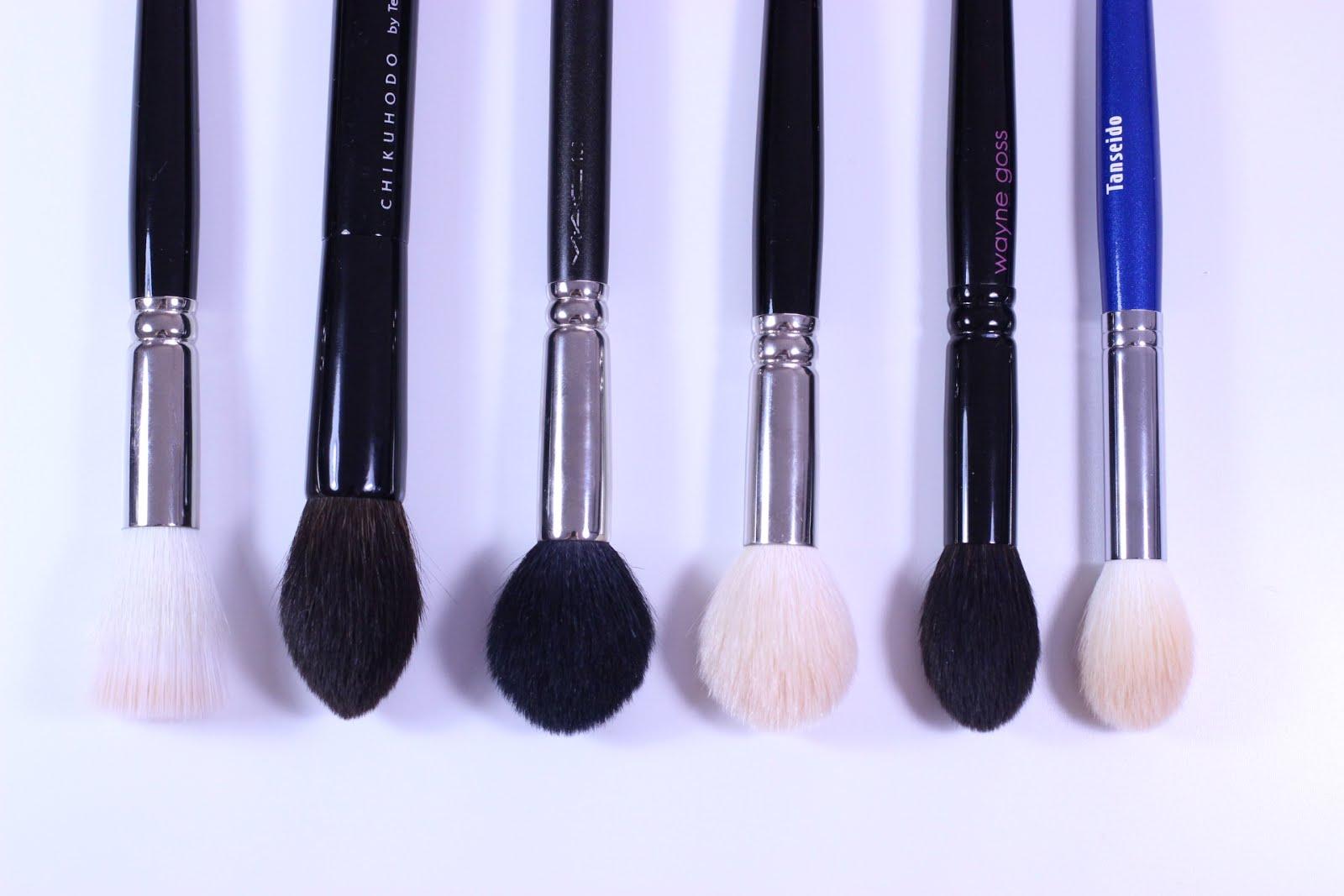 chikuhodo brushes. pat mcgrath 03 buffer brush, chikuhodo z-2, mac 165, hakuhodo j5521, g5521, wayne goss 02, tanseido ywc 14 brushes