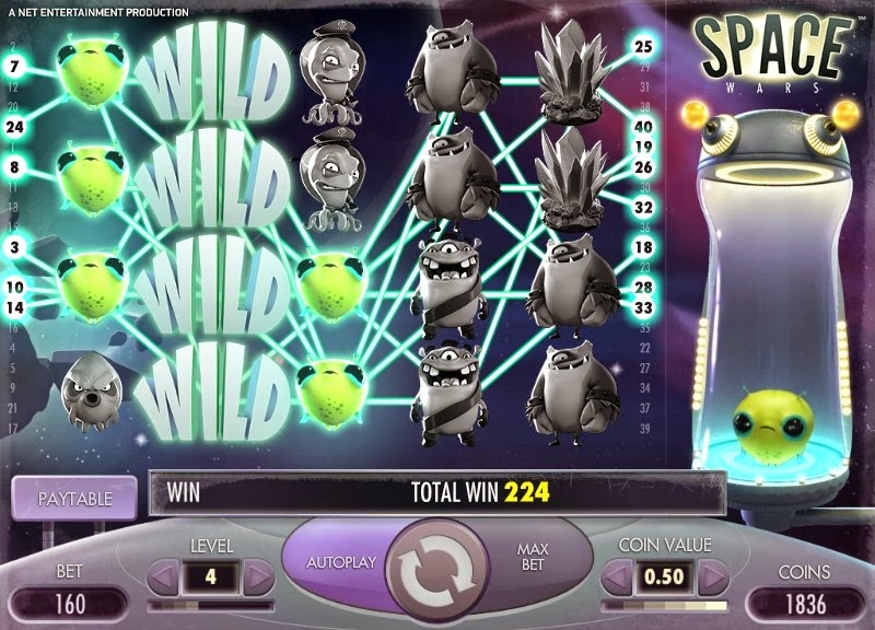 Space Wars Video Slot Screen