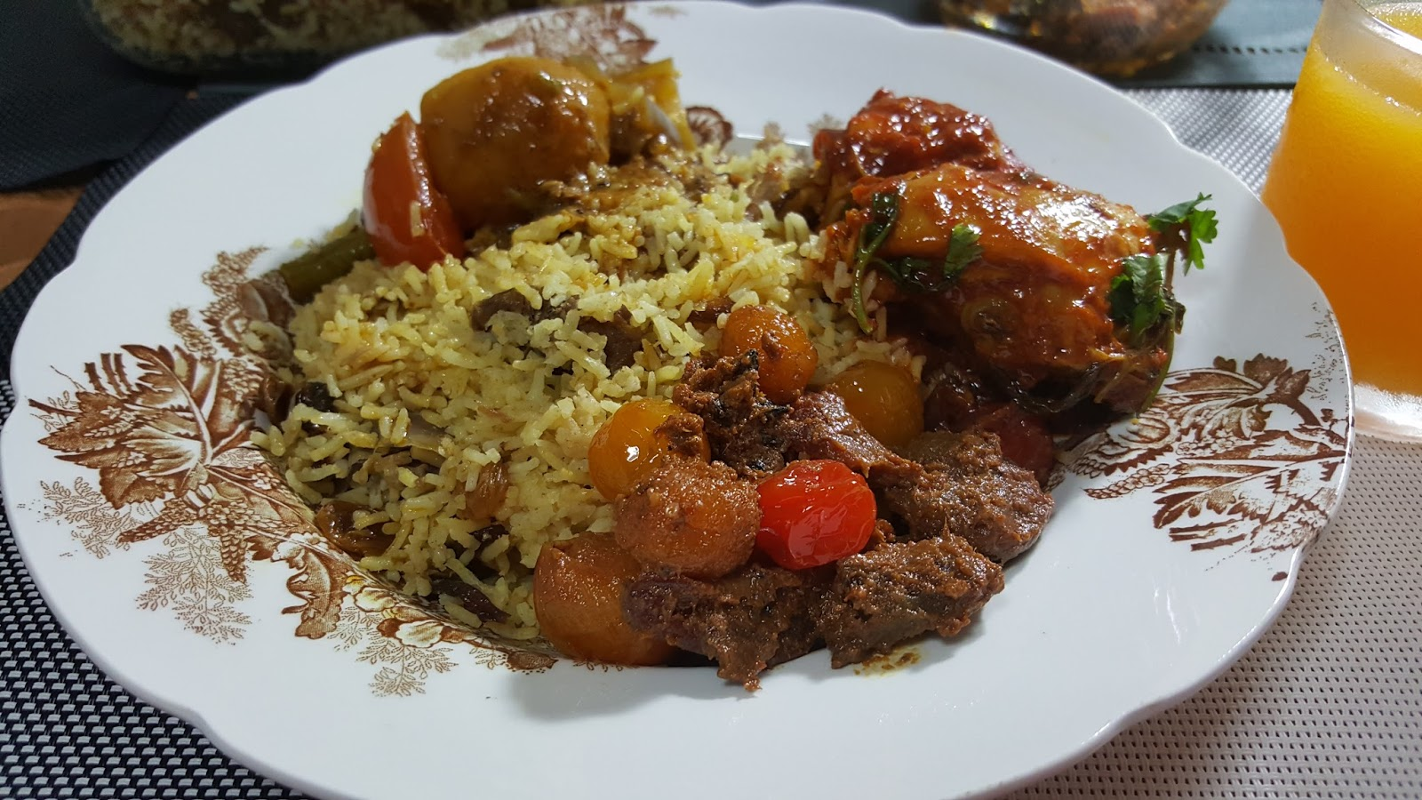 Flavourful Beef Rice Or Nasi Daging A Malay Dish Fragrant And Less Greasy Delicious Served With Ayam Masak Merah Acar Buah
