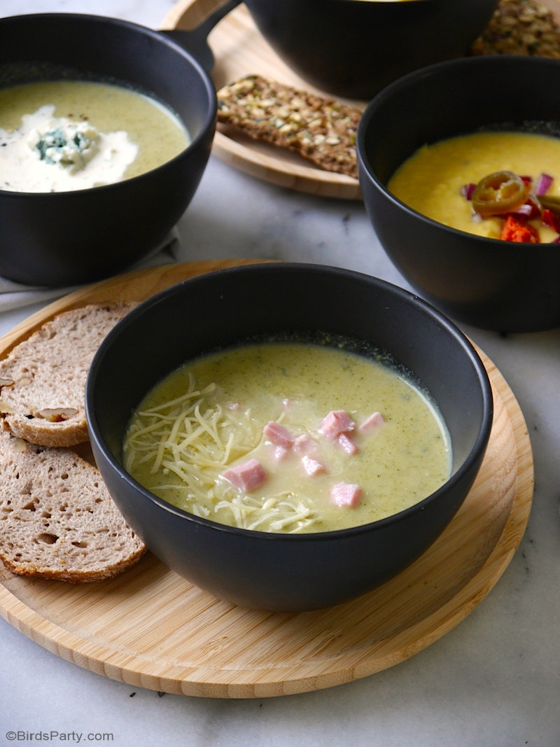 3 Winter Vegetable Soup Recipes - delicious, quick & easy to make, these tasty healthy soups are perfect for a winter dinner party or soup bar! by BirdsParty.com @birdsparty #souprecipe #wintersoup #healthysoup #soupparty #soupbar #soupbuffet #wintersoupparty #winterparty