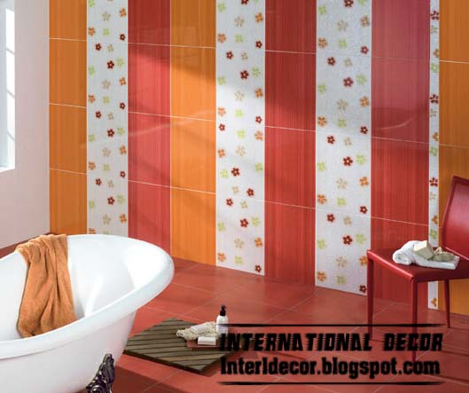 latest orange wall tile designs ideas for modern bathroom. Black Bedroom Furniture Sets. Home Design Ideas