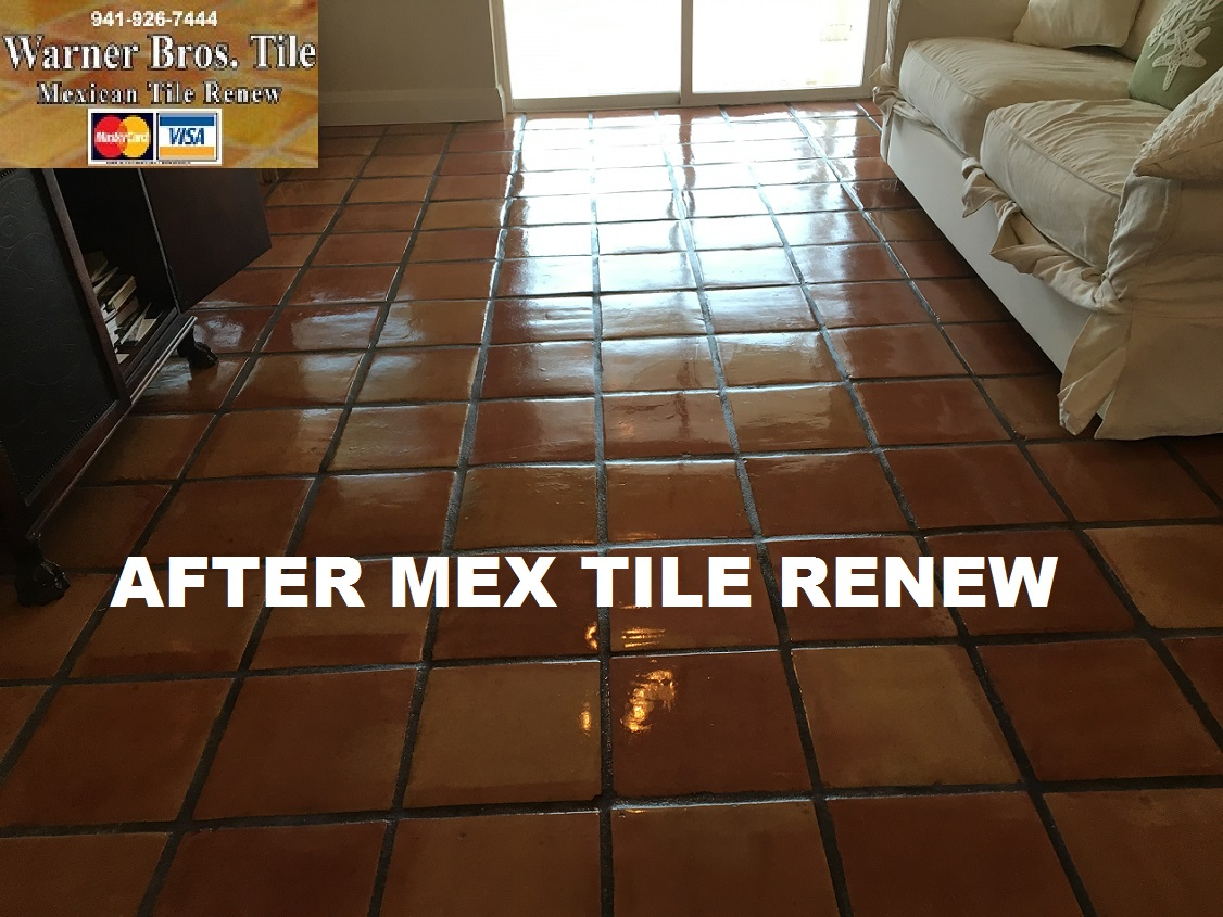 Tile cleaning stripping and sealing mexican tile sarasota mexican tile renew project at st pete beach home where mexican tile flooring had been installed 16 years ago and had not been refinished to a like new dailygadgetfo Images