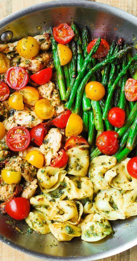 One-Pan Pesto Hen, Tortellini, and Veggies – healthful, refreshing, Mediterr